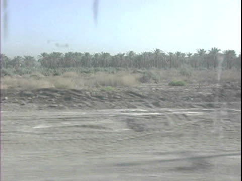 view from inside us military vehicle driving past flock of sheep grazing along rural road / baghdad, iraq / audio - 2007 stock videos & royalty-free footage