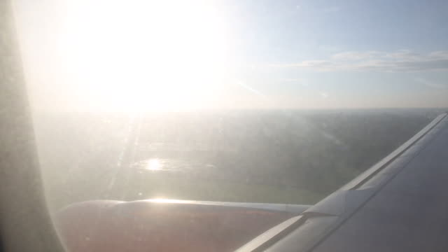 view from jet plane of runway landing, fields - pct stock videos and b-roll footage