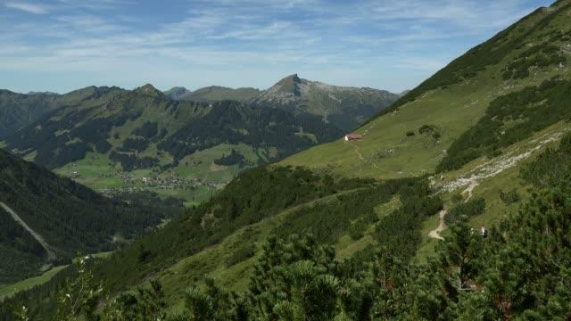 view from kanzelwand to mittelberg, kleinwalsertal, vorarlberg, austria - austria stock videos & royalty-free footage