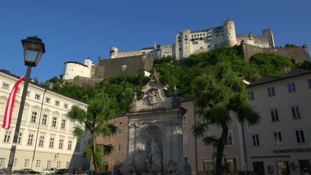 View from Kapitelplatz Square towards Fortress Hohensalzburg, Salzburg, Austria