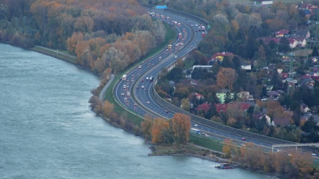 view from leopoldsberg at danube river and highway a22 in autumn, leopoldsberg, vienna, austria, europe - traditionally austrian stock videos & royalty-free footage