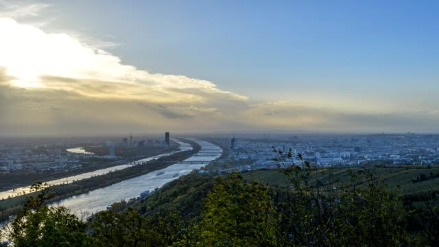 view from leopoldsberg at vienna and danube river in autumn, leopoldsberg, vienna, austria, europe - traditionally austrian stock videos & royalty-free footage