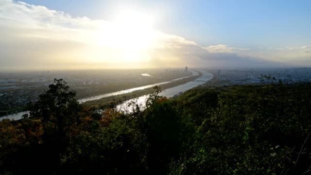 view from leopoldsberg at vienna and danube river in autumn, leopoldsberg, vienna, austria, europe - austrian culture stock videos & royalty-free footage