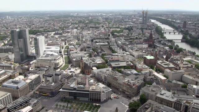ws view from main tower over city / frankfurt/main, hesse, germany  - main tower stock videos and b-roll footage
