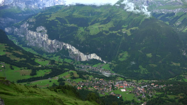View from Männlichen to Wengen and Lauterbrunnen Valley, Bernese Alps, Switzerland
