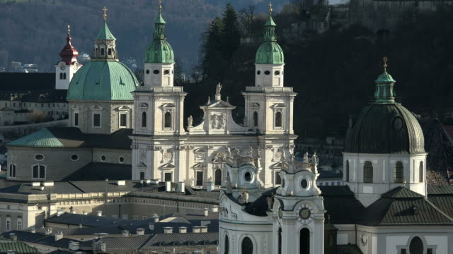 View from Moenchsberg hill over the old town with Cathedral, Salzburg, Austria