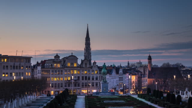 view from mont des arts - timelapse - brussels capital region stock videos & royalty-free footage