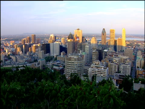 vidéos et rushes de view from mont royal of city buildings in front of the st. lawrence river - montreal