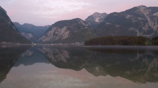 view from opposite hallstatt village in morning - austrian culture stock videos & royalty-free footage
