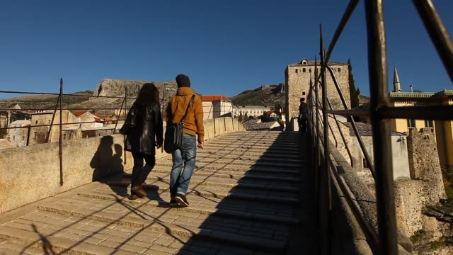 a view from over the old mostar bridge - religious symbol stock videos & royalty-free footage