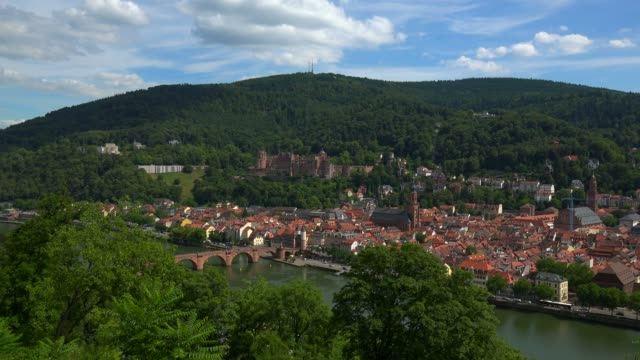 view from philosophenweg to heidelberg with neckar river, castle and old bridge, heidelberg, baden-wurttemberg, germany, europe - circa 13th century stock videos & royalty-free footage