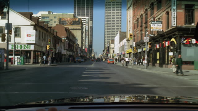 ws pov view from pickup driving through downtown / detroit, michigan, usa - detroit michigan stock videos & royalty-free footage