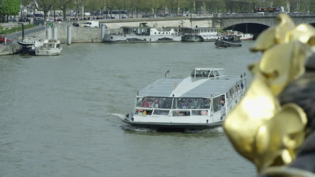 view from pont alexandre iii - pont alexandre iii stock videos & royalty-free footage