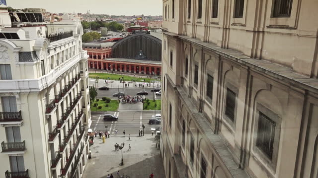 view from reina sofia museum elevator - panoramic stock videos & royalty-free footage