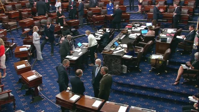view from republican side of the aisle during a roll call vote on the fiscal 2021 national defense authorization act, west virginia senators chatting... - senate stock videos & royalty-free footage