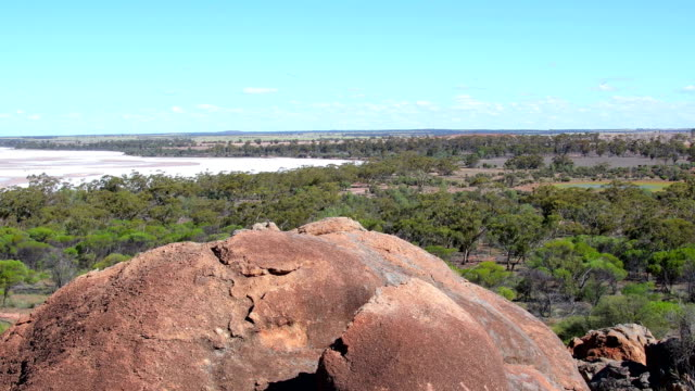 view from rock formation eaglestone rock over the scrubland in the wheatbelt. western australia - granite rock stock videos & royalty-free footage