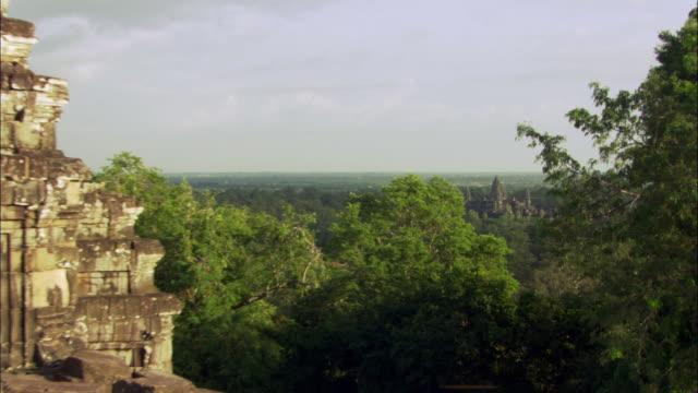 WS ZI View from ruins of temple of Angkor Wat and pagodas / Angkor, Cambodia