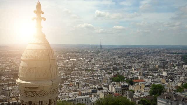 vídeos y material grabado en eventos de stock de vista desde sacre coure en parís, time lapse - basílica del sagrado corazón de montmartre