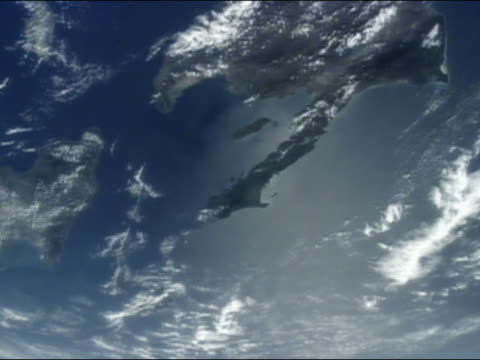 view from space of haiti, dominican republic and puerto rico - イスパニョーラ点の映像素材/bロール
