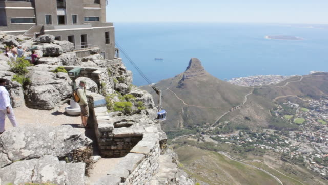 WS TD PAN View from Table Mountain over city and ropeway / Cape Town, South Africa
