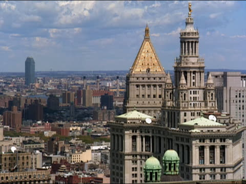ha view from tall building in downtown manhattan of manhattan municipal building and thurgood marshall united states courthouse with view of east river and citibank building in long island city in background / new york city, new york, usa - citigroup center manhattan stock videos & royalty-free footage