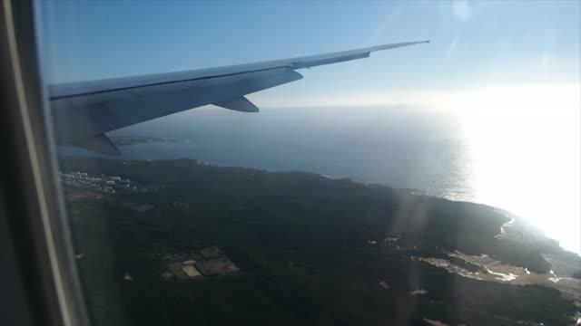 Uitzicht vanuit het raam van het vliegtuig