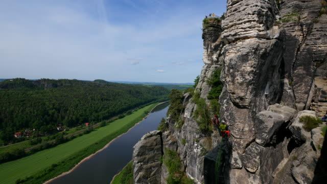 View from the Bastei near Rathen down into Elbe Valley, Saxon Switzerland, Saxony, Germany