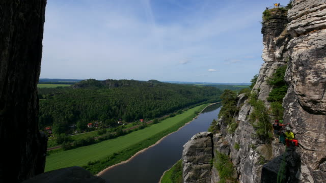 view from the bastei near rathen down into elbe valley, saxon switzerland, saxony, germany - drei personen stock-videos und b-roll-filmmaterial