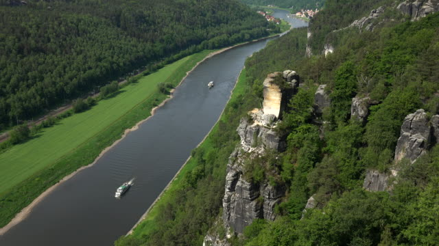 View from the Bastei near Rathen down into Elbe Valley, Saxon Switzerland, Saxony, Germany
