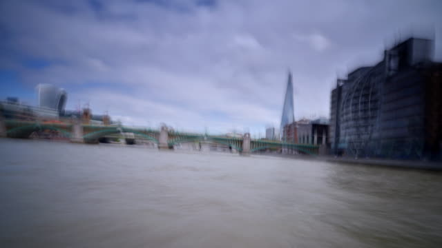 view from the bow of a dutch barge traveling through central london on the river thames - boat point of view stock videos & royalty-free footage