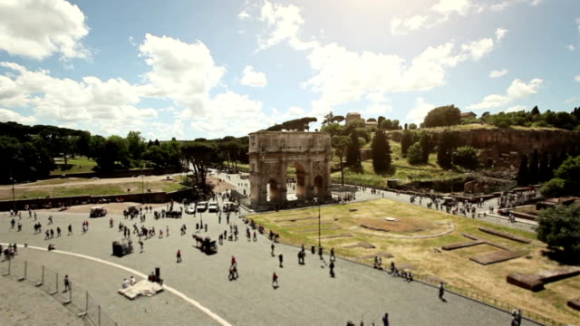 view from the coliseum - arch of constantine stock videos and b-roll footage