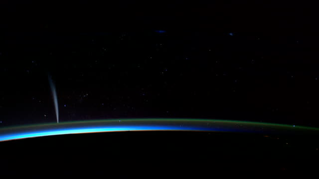/ view from the international space station of the of the lovejoy comet, which was seen over the southern hemisphere near the south pacific... - southern hemisphere stock videos & royalty-free footage