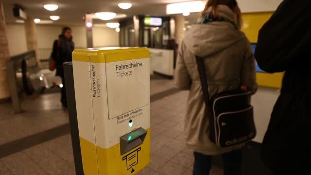 view from the kurfuerstendamm underground station in berlin, germany. kurfuerstendamm underground station berlin on march 07, 2013 in berlin, federal... - bahnreisender stock-videos und b-roll-filmmaterial