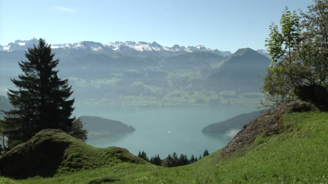 view from the mount rigi overlooking lake lucerne - alps stock videos and b-roll footage