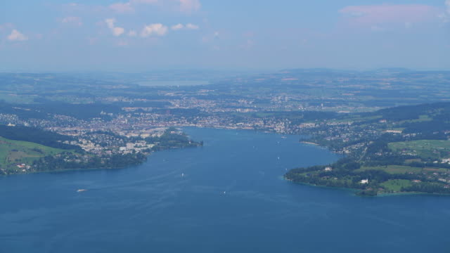 view from the mountain bürgenstock (buergenstock 1128 m) over lake lucerne. bürgenstock, lake lucerne, canton lucerne, switzerland. - lake lucerne stock videos & royalty-free footage