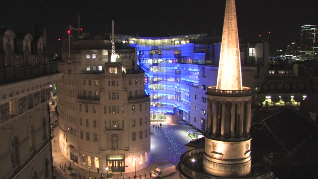 view from the roof of bbc broadcasting house at night - bbc stock videos & royalty-free footage