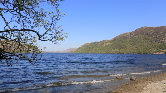 View from the shoreline of Ullswater, Lake District National Park, Cumbria, England, UK