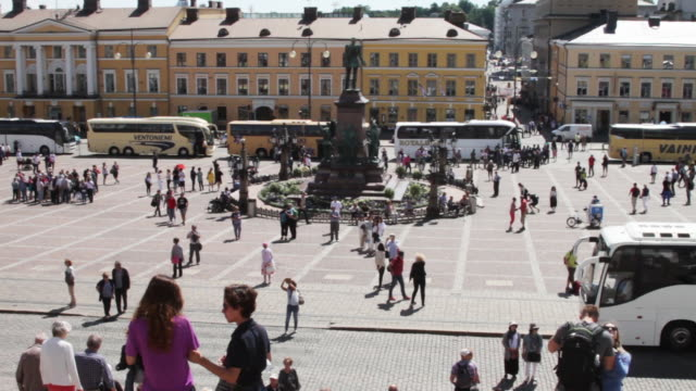 view from the stairs of the helsinki cathedral - finlandia video stock e b–roll