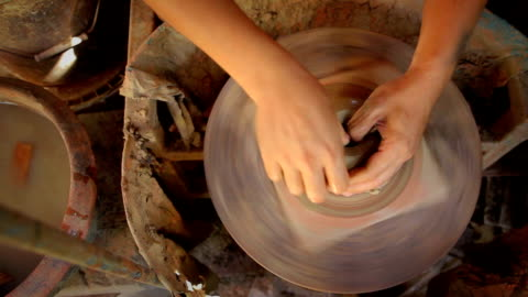 view from the top of pottery handmade - sculpture stock videos & royalty-free footage