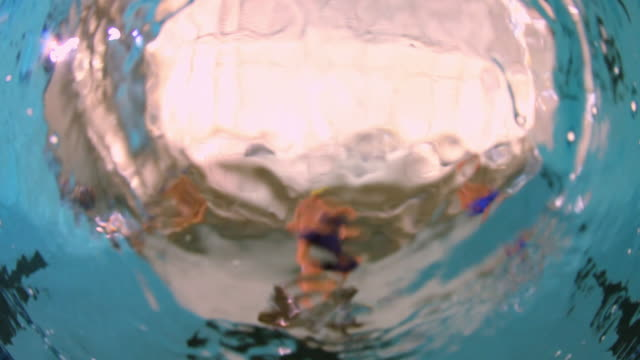 view from the water of a professional swimmer standing on the platform and then diving into the water in an olympic sized swimming pool - diving platform stock videos & royalty-free footage