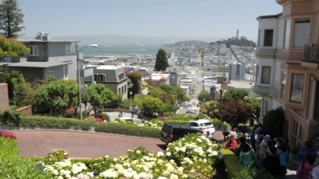 view from top of lombard street (crookedest street in the world), san francisco, california, united states of america, north america - lombard street san francisco stock videos & royalty-free footage