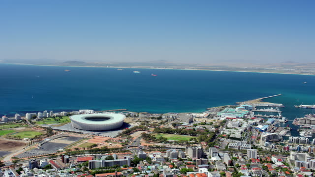 WS T/L PAN View from top of Signal Hill, CapeTown. Seen in order of appearance  Stadium, VA Waterfront,  Table Mountain Harbour and  Central Business District / Cape Town, Western Cape, South Africa