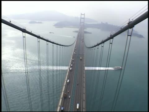 TU view from top of Tsing Ma Bridge  Hong Kong  China
