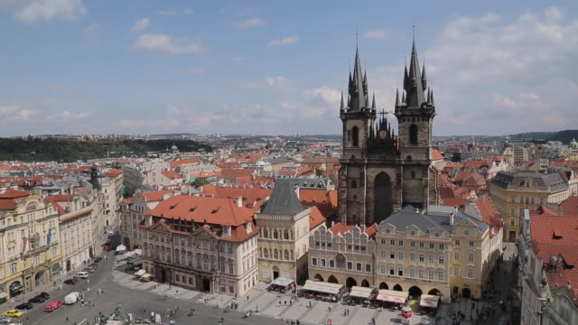 view from town hall clock tower, old town square, prague, czech republic, europe - stare mesto stock videos and b-roll footage