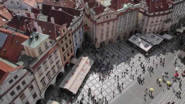 view from town hall clock tower, old town square, prague, czech republic, europe - prague old town square stock videos & royalty-free footage