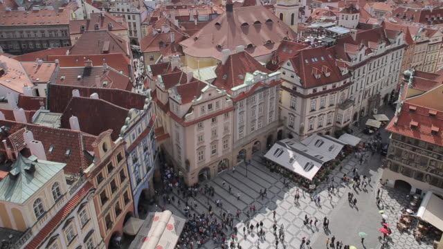 view from town hall clock tower, old town square, prague, czech republic, europe - stare mesto stock videos & royalty-free footage