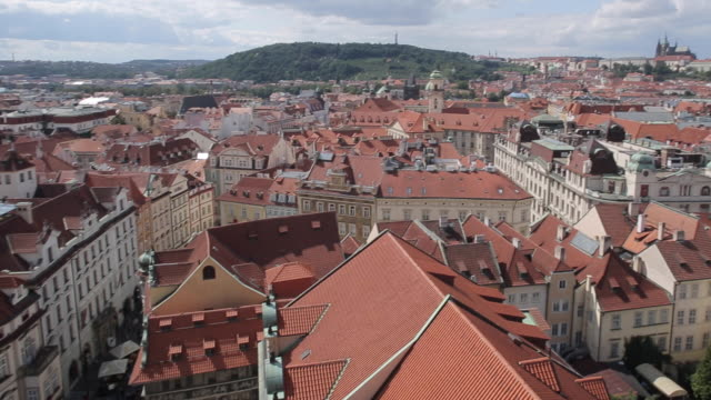 view from town hall clock tower, old town square, prague, czech republic, europe - prague old town square stock videos and b-roll footage