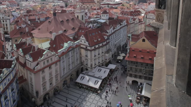 view from town hall clock tower, old town square, prague, czech republic, europe - prague town hall stock videos & royalty-free footage