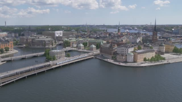 view from town hall tower of riddarholmen and other districts of stockholm, stockholm, sweden, scandinavia, europe - swedish culture stock videos and b-roll footage