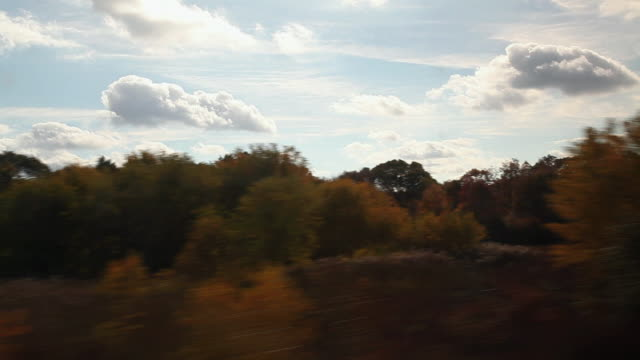 View from train as it passes along tracks